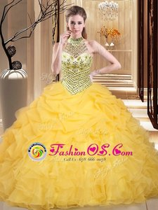 Yellow Halter Top Lace Up Beading and Ruffles and Pick Ups Vestidos de Quinceanera Sleeveless