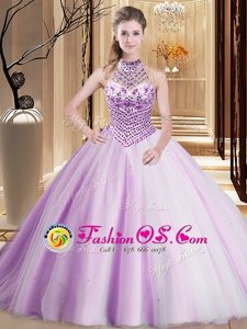 Lilac Halter Top Neckline Beading 15 Quinceanera Dress Sleeveless Lace Up