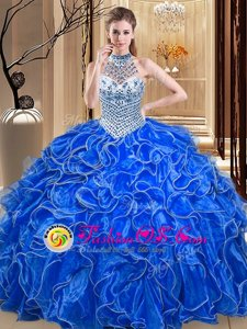 Custom Fit Halter Top Royal Blue Ball Gowns Beading and Ruffles Quinceanera Gown Lace Up Organza Sleeveless Floor Length