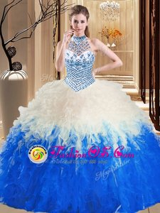 Halter Top Sleeveless Tulle Floor Length Lace Up Quince Ball Gowns in Blue And White for with Beading and Ruffles