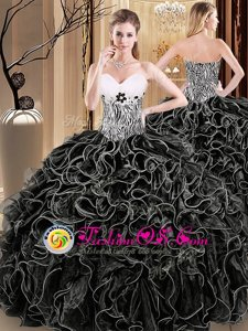 Decent Black Ball Gowns Organza Sweetheart Sleeveless Ruffles and Pattern Floor Length Lace Up Sweet 16 Dresses