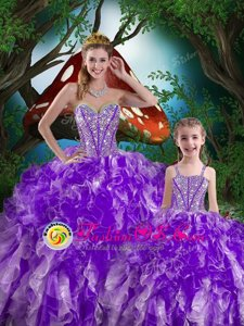 On Sale Eggplant Purple Lace Up Quinceanera Gowns Beading and Ruffles Sleeveless Floor Length