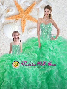 Latest Sleeveless Lace Up Floor Length Beading and Ruffles Quince Ball Gowns