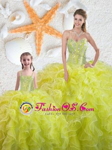 Yellow Green Vestidos de Quinceanera Military Ball and Sweet 16 and Quinceanera and For with Beading and Ruffles Sweetheart Sleeveless Lace Up