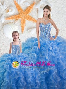 Beading and Ruffles 15 Quinceanera Dress Baby Blue Lace Up Sleeveless Floor Length