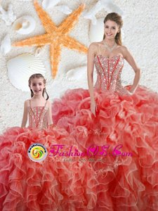 Sleeveless Organza Floor Length Lace Up Vestidos de Quinceanera in Coral Red for with Beading and Ruffles