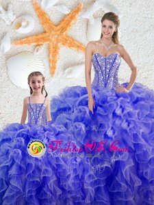 Sweetheart Sleeveless Lace Up 15 Quinceanera Dress Blue Organza