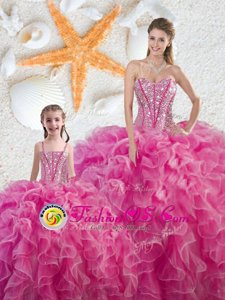 Stunning Hot Pink Sleeveless Beading and Ruffles Floor Length Ball Gown Prom Dress