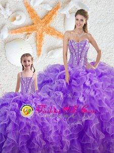 Smart Sleeveless Floor Length Beading and Ruffles Lace Up Quinceanera Dress with Purple