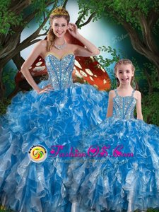 Baby Blue Sweetheart Lace Up Beading and Ruffles Vestidos de Quinceanera Sleeveless