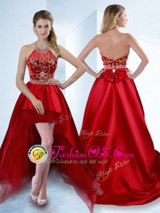 Graceful Halter Top Sleeveless Dress Like A Star High Low Beading Red Satin