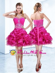 High Class Hot Pink Sleeveless Mini Length Beading and Ruffles and Pick Ups Lace Up Prom Evening Gown