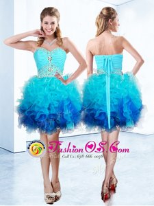 Fantastic Blue Lace Up Prom Dresses Beading and Ruffles and Ruching Sleeveless Knee Length