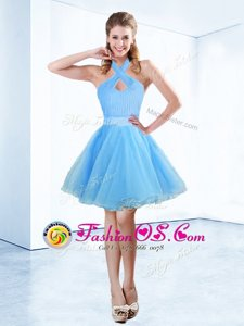 Halter Top Blue Organza Zipper Prom Party Dress Sleeveless Floor Length Ruching and Belt