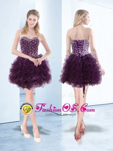 Dark Purple Sweetheart Neckline Beading and Ruffles Celebrity Dresses Sleeveless Lace Up