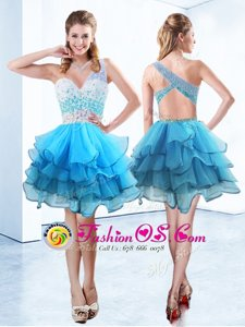 Fabulous Aqua Blue Prom and Party and For with Beading and Ruffled Layers One Shoulder Sleeveless Criss Cross