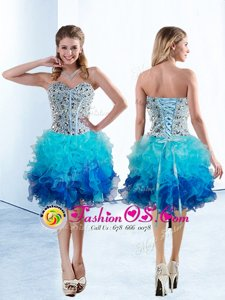 Knee Length A-line Sleeveless Multi-color Homecoming Dress Lace Up