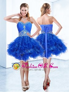Sumptuous Royal Blue Prom and Party and For with Ruffles and Ruching Sweetheart Sleeveless Lace Up
