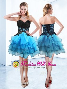 Blue And Black Sleeveless Mini Length Ruffled Layers Lace Up Prom Gown