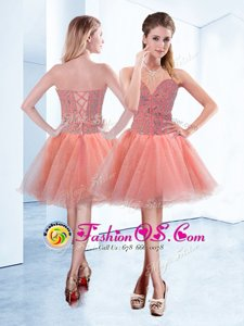 Peach A-line Sweetheart Sleeveless Tulle Mini Length Lace Up Beading Homecoming Dress