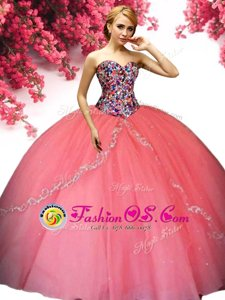 Watermelon Red Lace Up Sweetheart Beading Quinceanera Gown Tulle Sleeveless