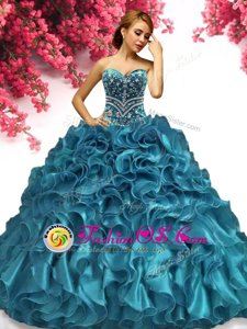 Floor Length Royal Blue Quinceanera Dress Off The Shoulder Short Sleeves Lace Up