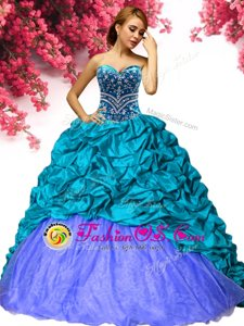 Cheap Sleeveless Taffeta Brush Train Lace Up 15th Birthday Dress in Teal for with Beading and Pick Ups