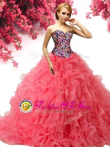 Coral Red Quince Ball Gowns Military Ball and Sweet 16 and Quinceanera and For with Beading and Ruffles Sweetheart Sleeveless Brush Train Lace Up