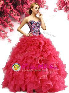 Hot Sale Red Organza Lace Up Sweetheart Sleeveless Floor Length 15 Quinceanera Dress Beading and Ruffles