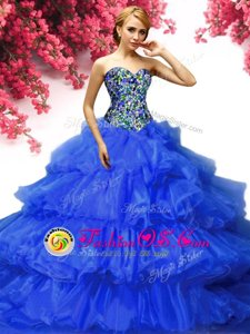 Sleeveless Beading and Ruffles and Pick Ups Lace Up Quince Ball Gowns