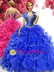 Royal Blue Ball Gowns Sweetheart Sleeveless Organza With Train Sweep Train Lace Up Beading and Ruffles Sweet 16 Dresses
