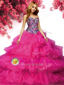 Ruffled Floor Length Ball Gowns Sleeveless Fuchsia Quinceanera Gown Lace Up