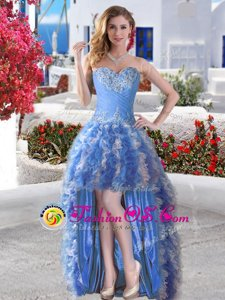 Sweet High Low Ball Gowns Sleeveless Blue Celebrity Style Dress Lace Up