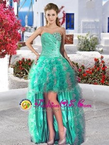 Classical Turquoise Lace Up Prom Evening Gown Beading and Ruffles Sleeveless High Low