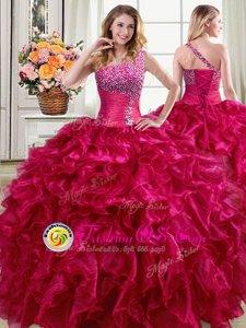 High End One Shoulder Floor Length Ball Gowns Sleeveless Fuchsia Vestidos de Quinceanera Lace Up