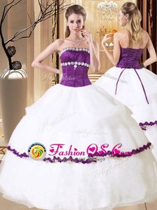 Attractive White Organza Lace Up Sweet 16 Dresses Sleeveless Floor Length Beading and Embroidery and Ruffled Layers