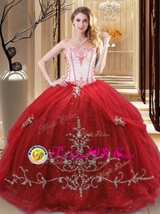 Sweet Red Lace Up Strapless Embroidery Vestidos de Quinceanera Tulle Sleeveless
