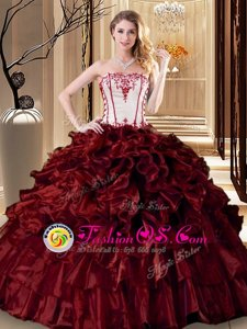 Discount Strapless Sleeveless Organza Quince Ball Gowns Ruffles Lace Up