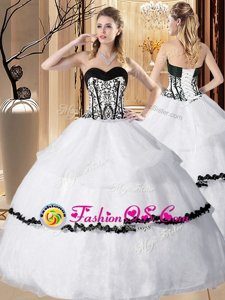 Deluxe Sleeveless Floor Length Embroidery and Ruffled Layers Lace Up Vestidos de Quinceanera with White