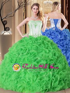 Cheap Ball Gowns Fabric With Rolling Flowers Strapless Sleeveless Embroidery and Ruffles Floor Length Lace Up 15 Quinceanera Dress