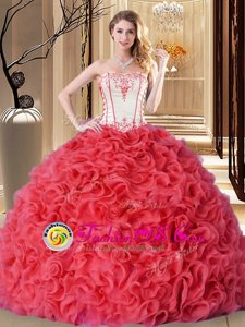 Sleeveless Embroidery and Ruffles Lace Up 15th Birthday Dress