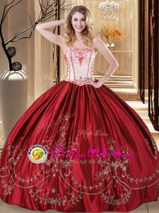 Comfortable Strapless Sleeveless Quince Ball Gowns Floor Length Embroidery Wine Red Taffeta