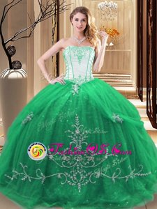 Fashionable Green Sleeveless Embroidery Floor Length Quinceanera Gown