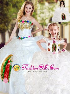 White Organza Lace Up Strapless Sleeveless Floor Length Quince Ball Gowns Beading and Ruffles
