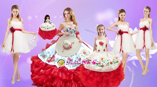 New Style White And Red Ball Gowns Beading and Ruffles Sweet 16 Dress Lace Up Organza Sleeveless Floor Length