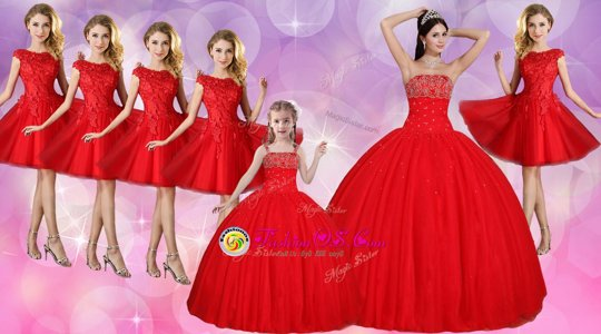 Glorious Floor Length Red Quinceanera Dress Tulle Sleeveless Beading
