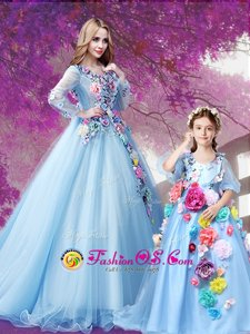 Glittering Baby Blue Lace Up V-neck Beading and Hand Made Flower Ball Gown Prom Dress Organza Long Sleeves Sweep Train