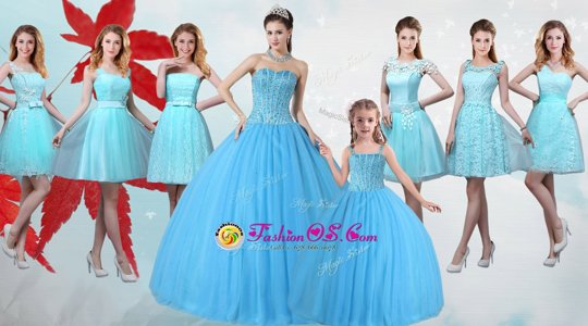 Extravagant Baby Blue Sleeveless Floor Length Beading Lace Up Quinceanera Dress