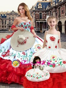 Sleeveless Floor Length Embroidery Lace Up Vestidos de Quinceanera with White And Red