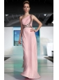 Baby Pink Column One Shoulder Floor-length Sequin Beading and Rhinestone Prom Dress